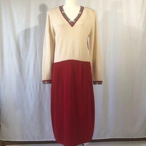 Vintage St. John for Saks Knit Red/Cream Dress